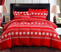 Queen Size 3d Bedding Sets Hexagonal Snowflake Pattern & Reindeer Christmas Gifts RED Soft Sanding Brushed 100 Cotton Material 4pcs Set Duvet Cover Bed Sheet Pillowcase Without Comforter