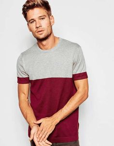 ASOS | Cotton Knitted Tshirt with Color Block #Asos #tshirt
