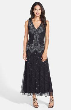 Downton Abbey Pisarro Nights Beaded Mesh V-Neck Dress $178