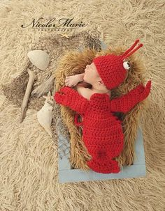 Made-to-Order 2-piece Crochet Lobster Hat and Cape Set, Newborn Photography Prop  The 2-piece Crochet Lobster Hat and Cape Set is perfect to dress your new summer baby in for his or her photo shoot, or is a great item for photographers to have on hand ...