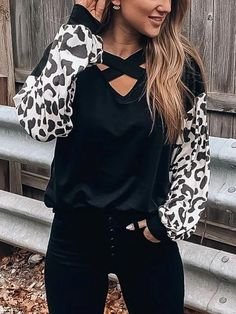 Leopard Printed Splicing Criss-Cross Blouse - Black Fashion girls, party dresses long dress for short Women, casual summer outfit ideas, party dresses Fashion Trends, Latest Fashion # Bell Sleeve Blouse, Short Sleeve Blouse, Long Sleeve, Leopard Blouse, Black Blouse, Leopard Outfits, Tie Blouse, Fashion Outfits, Fashion Trends