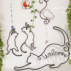 過去作品  ワイヤークラフト  猫のサンキャッチャーとウェルカム    #猫 #ワイヤー #ハンドメイド #cat #wire #handmade
