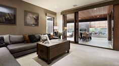 Browse the various new home designs and house plans on offer by Carlisle Homes across Melbourne and Victoria. Find a house plan for your needs and budget today! Plan General, Carlisle Homes, Modern Color Schemes, Lounge, Wall Paint Colors, Brown Walls, New Home Designs, Design Case, Finding A House