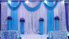 sequin wedding backdrop curtain with swag backdrop/ wedding decoration romantic Ice silk stage curtains sequin wedding backdrop curtain with swag backdrop/ wedding decor. Wedding Stage Backdrop, Wedding Stage Decorations, Backdrop Decorations, Wedding Centerpieces, Wedding Table, Backdrop Ideas, Wedding Backdrops, Wedding Ceremony, Reception Backdrop