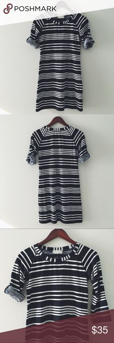 """🆕 Max Studio Casual Striped Dress Max Studio Casual Striped Dress -Comfy casual dress with option to roll up the 3/4 length sleeves.  Great basic piece! -32"""" from shoulder to hem, 17"""" from underarm to underarm, 16"""" waist. -53% Polyester, 40% Rayon, 5% Spandex, 2% Linen. Machine Wash. -Worn sparingly, excellent quality. 📸:inna_lala Max Studio  Dresses Midi"""