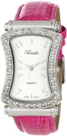 Breda Womens 2286-pink Dallas Rhinestone Bezel Leather Band Watch