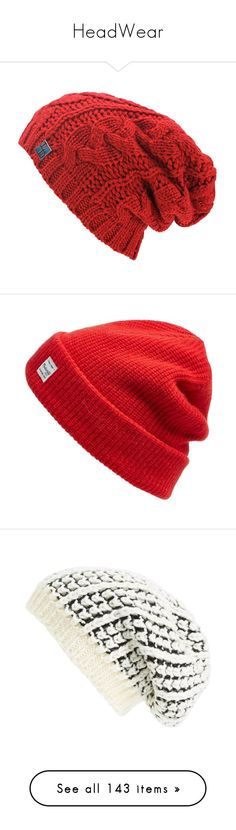 """HeadWear"" by noconfessions ❤ liked on Polyvore featuring accessories, hats, beanie, headwear, red, slouch beanie hats, red beanie hat, red beanie, beanie cap e slouchy hat"