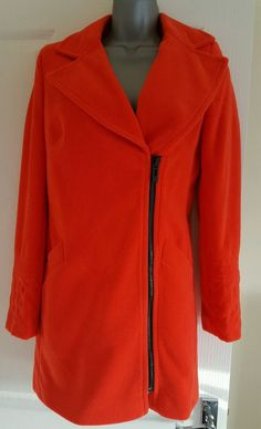 NEW M&S Limited Edition Coral Orange Textured Boucle Biker Coat Jacket RRP £149