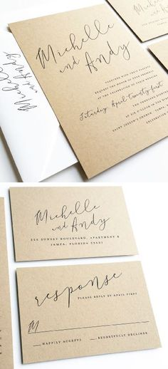 Pretty and simple, modern elegant calligraphy wedding invitation suite on kraft paper  Would be pretty on gold as well