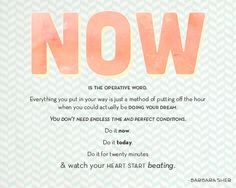 """""""Now"""" is the operative word. Everything you put in your way is just a method of putting off the hour when you could actually be doing your dream. You don't need endless time and perfect conditions. Do it now. Do it today. Do it for twenty minutes and watch your heart start beating."""" -Barbara Sher"""