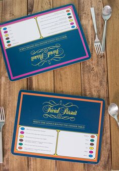 LOVE these - Trivial Pursuit placemats - Thanksgiving, Christmas, whenever.... super fun!