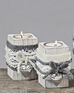 Teelichthalter Shabby Filz Herz Landhaus Holz grau weiß Teelicht Set (4489000) in Möbel & Wohnen, Dekoration, Kerzenständer & Teelichthalter | eBay