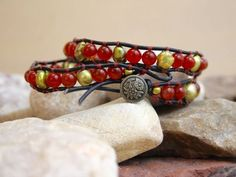 Artesia - Blood Carnelian and FreshWater Pearls Double Wrap Leather Bracelet by Leftovers4Dinner on Etsy