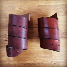 Corporeal Water Holsters (unfinished) for my new making project. Two brown versions made from recycled leather #recycling #craft #leather