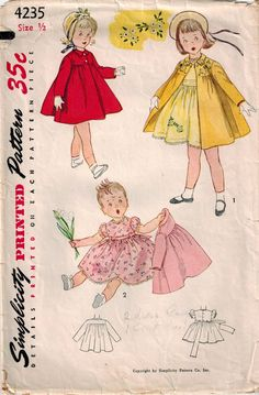Vintage 50's Sewing Pattern Toddler Girl by SuzisCornerBoutique