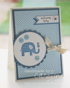 Stampin' Up! ... handmade card from C@ro's kaartjes: Welcome baby! ... monochromatic blue ... focal image elepant with a flower in its trunk ...