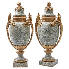 Pair of French Neoclassical Cipollino Marble Cassolettes, circa 1870 | From a unique collection of antique and modern vases and vessels at https://www.1stdibs.com/furniture/decorative-objects/vases-vessels/