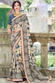 Stylish Cream And Grey Art Silk Saree With Art Silk Blouse - DMV11694