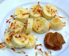 bananas, toasted coconut + almond butter