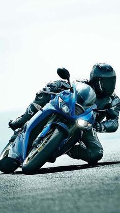 Sport bike leaning in