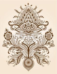 Arte vetorial : Henna Paisley Lace Flower Vector