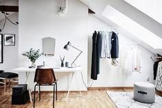 Scandinavian apartment with attic bedroom | photos by Anders Bergstedt | floorplan