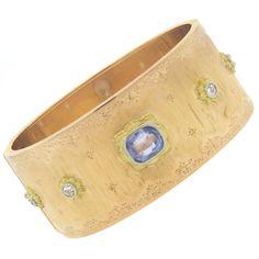 Important Buccellati Diamond Sapphire 18k Gold Bangle Bracelet