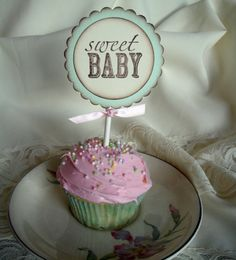 Baby Shower Cupcake Toppers Food Picks by EllenasPaperHouse