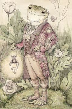 çizgili masallar: Vasilisa Koverzneva, In The Bushes of Wild Rosemary Art And Illustration, Frosch Illustration, Frog Drawing, Frog Pictures, Funny Frogs, Frog Art, Frog And Toad, Fairy Tales, Character Design