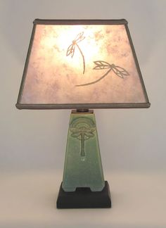 t253 Small Green Dragonfly Roycroft Arts & Crafts Pottery Lamp, Rectangle Mica Shade With Hand-Cut Dragonflies By Mary Shilman