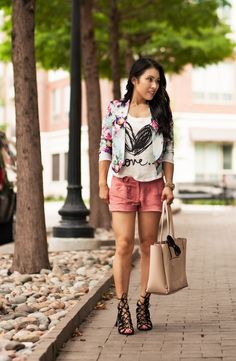 cute & little blog | petite fashion | floral cropped blazer, love graphic tee, pink shorts, lace up sandals | spring casual fashion