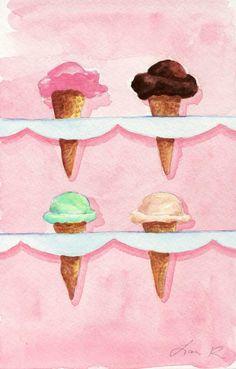 Ice Cream Cones Four Soda Fountain Flavors ORIGINAL Watercolor Painting Art 5.5 x 8.5. $15.00, via Etsy.