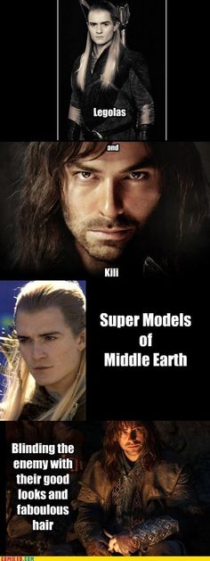 Legolas and Kili are my 2 favourites from hobbit, Frodo all the way for LOTR tho Legolas And Thranduil, Fili And Kili, Aragorn, Tauriel, Gandalf, Legolas Funny, Aidan Turner, J. R. R. Tolkien, O Hobbit