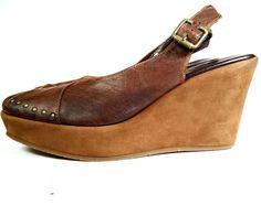 CORDANI 39 Brown Leather Platform Wedges Boho Slingbacks *EXCELLENT* SIZE 9 #Cordani #PlatformsWedges