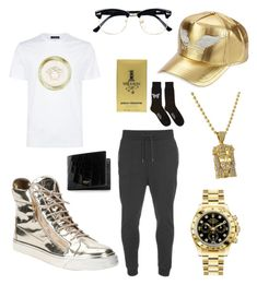 """""""I Love Gold!!!!!"""" by michaelmartin714 on Polyvore featuring Giuseppe Zanotti, Robin's Jean, HUGO, Versace, Rolex, Topman, Paco Rabanne, Mulberry, Alexander McQueen and men's fashion"""