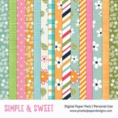 Free Digital Paper Pack - Simple and Sweet