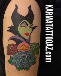 Maleficent tattoo sleeping beauty tattoo aurora karma tattoo in arizona