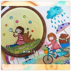 しゃぼん玉 いつもの まぁるいフレームに入れました。 ほっ(^ω^) 次は、梅雨の刺繍 また、おかっぱちゃんとくまの子です。 ヤフオク 「しゃぼん玉」刺繍フレーム ヤフオク出品中です。 ID lavandula3608 です。 #刺繍 #手作り #ステッチ #オリジナル #ハンドメイド #handmade #図案 #embroidey #しゃぼん玉 #梅雨
