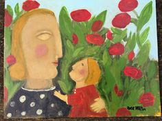 mother and child in the garden Original by Rose Walton by RoseWalton on Etsy