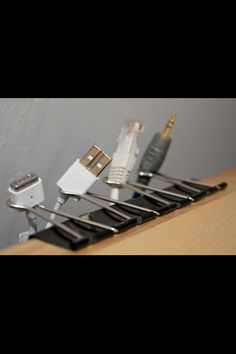 Tech Tip: Brilliant (and inexpensive) way to keep your desk or workstation organized! DIY Binder-clip cable keepers!