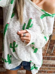 Fashion Cactus Print Casual Sweater (S/M/L/XL) $17.99