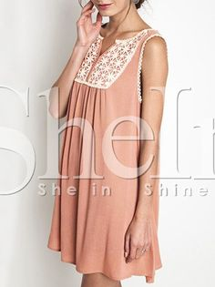 Pink Sleeveless Embroidered Dress 11.99