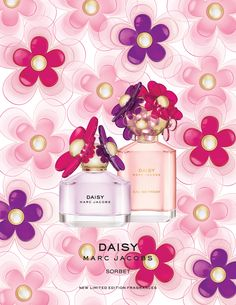Limited Edition Daisy Sorbet & Daisy Eau So Fresh Sorbet. Daisy Sorbet is a luscious blend of sparkling fruits that's both delicate & floral, while Daisy Eau So Fresh Sorbet is a blooming bouquet with a rich floral & smooth sensuality. Chloe Perfume, Perfume Ad, Perfume Bottles, Mademoiselle Perfume, Daisy Perfume, Perfume Fragrance, Marc Jacobs Daisy, Sorbet, Parfum Marc Jacobs