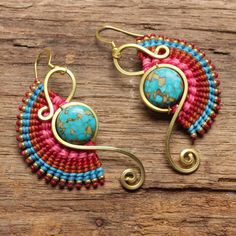 Shaped brass tribal earrings with woven cotton designs and turquoise gemstone by cafeandshiraz