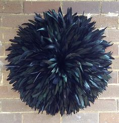 Black juju hat feather art wall decoration, designed by dusty treasures home decor, custom work available on request
