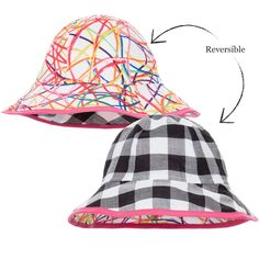 Junior Gaultier - Baby Girls Black   White Gingham Reversible Hat  ef005b9a96db