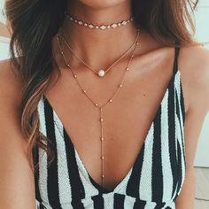 Gold Leather Pearl Choker - Stargaze Jewelry