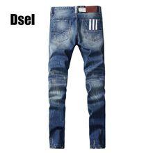 3fc7019e8 2017 Nova Dsel Homens Famosos Jeans de Marca Homens Azuis Calças Jeans  Masculina Jeans de Corte Reto Fit Calças de Brim Dos Homens, Blue Jeans,  H9003