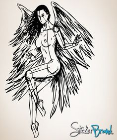 Vinyl Wall Decal Sticker Angel Wings Sketch #777