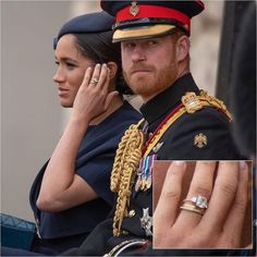 A close look at Duchess Meghan's new ring! Is the diamond eternity band a traditional first anniversary gift? A push present after the… Prince William And Harry, Prince Harry And Megan, Harry And Meghan, Royal Engagement Rings, Celebrity Engagement Rings, Rings With Meaning, Meghan Markle Prince Harry, Princesa Diana, Royal Fashion
